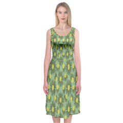 Another Supporting Tulip Flower Floral Yellow Gray Green Midi Sleeveless Dress