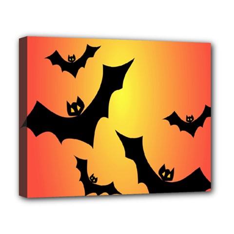 Bats Orange Halloween Illustration Clipart Deluxe Canvas 20  X 16   by Jojostore