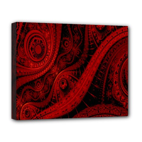 Batik Chevron Wave Free Red Deluxe Canvas 20  X 16   by Jojostore