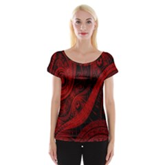 Batik Chevron Wave Free Red Women s Cap Sleeve Top by Jojostore