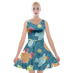 Animals Bee Frog Peacock Iguana Jpeg Velvet Skater Dress by Jojostore
