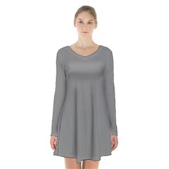 Color Grey Long Sleeve Velvet V Neck Dress by Jojostore