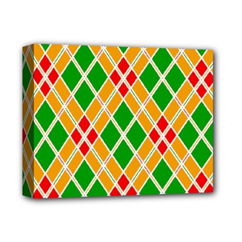 Chevron Wave Green Red Orange Line Deluxe Canvas 14  X 11  by Jojostore