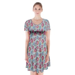 Fruit Flower Red Short Sleeve V Neck Flare Dress by Jojostore