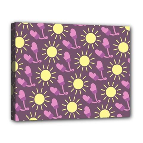 Gloves Sun Purple Yellow Canvas 14  X 11  by Jojostore