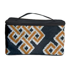 Geometric Cut Velvet Drapery Upholstery Fabric Cosmetic Storage Case by Jojostore