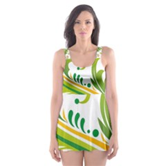 Leaf Flower Green Floral Skater Dress Swimsuit by Jojostore