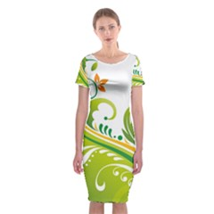 Leaf Flower Green Floral Classic Short Sleeve Midi Dress by Jojostore