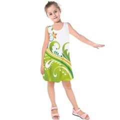 Leaf Flower Green Floral Kids  Sleeveless Dress