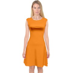 Orange Color Capsleeve Midi Dress by Jojostore