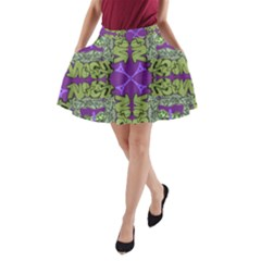 Paris Eiffel Tower Green Purple A-Line Pocket Skirt