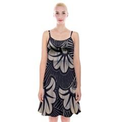Printed Fan Fabric Spaghetti Strap Velvet Dress by Jojostore