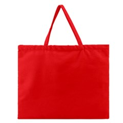 Red Color Zipper Large Tote Bag by Jojostore