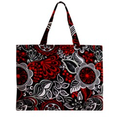 Red Batik Flower Zipper Mini Tote Bag by Jojostore