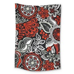 Red Batik Flower Large Tapestry by Jojostore