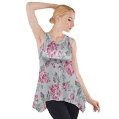 Rose Red Flower Side Drop Tank Tunic