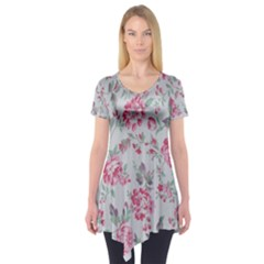 Rose Red Flower Short Sleeve Tunic  by Jojostore