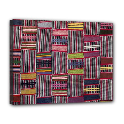 Strip Woven Cloth Color Canvas 14  X 11  by Jojostore