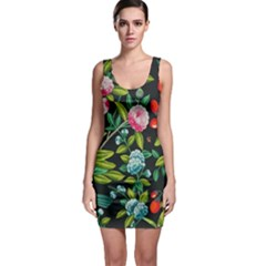 Tropical And Tropical Leaves Bird Sleeveless Bodycon Dress by Jojostore