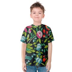 Tropical And Tropical Leaves Bird Kids  Cotton Tee by Jojostore