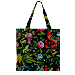 Tropical And Tropical Leaves Bird Zipper Grocery Tote Bag by Jojostore