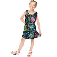 Tropical And Tropical Leaves Bird Kids  Tunic Dress by Jojostore
