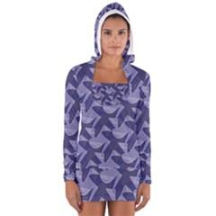 Incid Mono Geometric Shapes Project Blue Women s Long Sleeve Hooded T Shirt by Jojostore