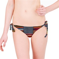 Strip Woven Cloth Bikini Bottom