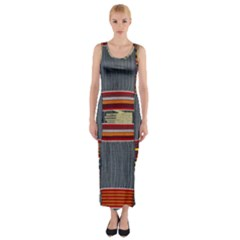 Strip Woven Cloth Fitted Maxi Dress by Jojostore