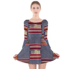 Strip Woven Cloth Long Sleeve Velvet Skater Dress by Jojostore