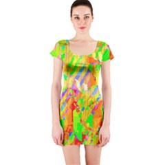 Cheerful Phantasmagoric Pattern Short Sleeve Bodycon Dress by Amaryn4rt