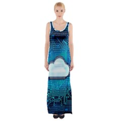 Circuit Computer Chip Cloud Security Maxi Thigh Split Dress by Amaryn4rt