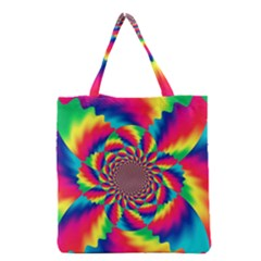Colorful Psychedelic Art Background Grocery Tote Bag by Amaryn4rt
