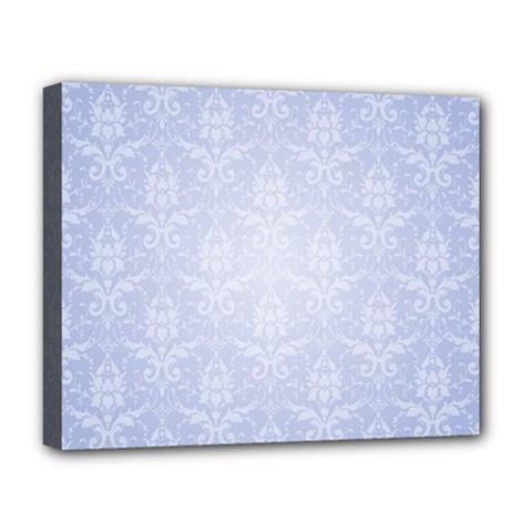 Damask Pattern Wallpaper Blue Deluxe Canvas 20  X 16   by Amaryn4rt