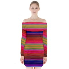Fiesta Stripe Colorful Neon Background Long Sleeve Off Shoulder Dress by Amaryn4rt