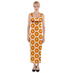 Golden Be Hive Pattern Fitted Maxi Dress by Amaryn4rt