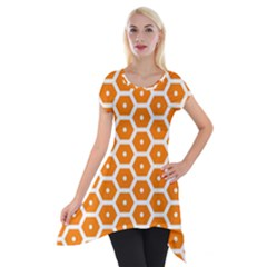 Golden Be Hive Pattern Short Sleeve Side Drop Tunic by Amaryn4rt