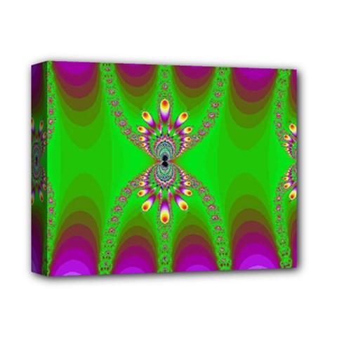 Green And Purple Fractal Deluxe Canvas 14  X 11  by Amaryn4rt
