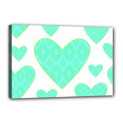 Green Heart Pattern Canvas 18  X 12  by Amaryn4rt