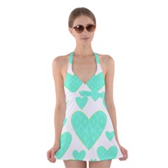 Green Heart Pattern Halter Swimsuit Dress