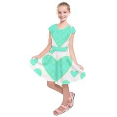 Green Heart Pattern Kids  Short Sleeve Dress by Amaryn4rt