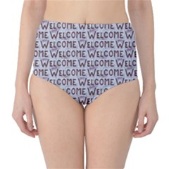 Welcome Letters Pattern High-Waist Bikini Bottoms by dflcprintsclothing