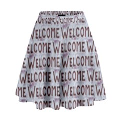 Welcome Letters Pattern High Waist Skirt by dflcprintsclothing