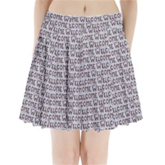 Welcome Letters Pattern Pleated Mini Skirt by dflcprintsclothing