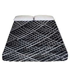 Grid Wire Mesh Stainless Rods Rods Raster Fitted Sheet (king Size) by Amaryn4rt