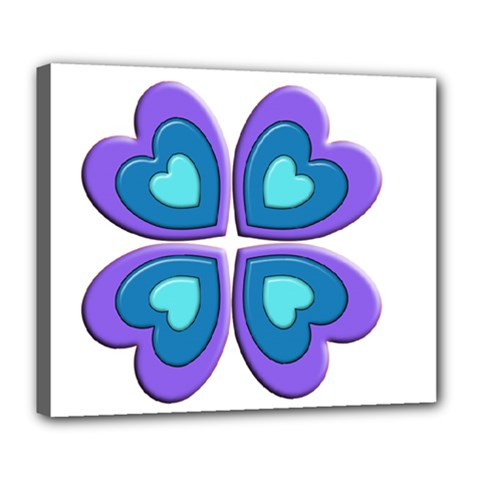 Light Blue Heart Images Deluxe Canvas 24  X 20   by Amaryn4rt
