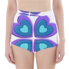 Light Blue Heart Images High Waisted Bikini Bottoms
