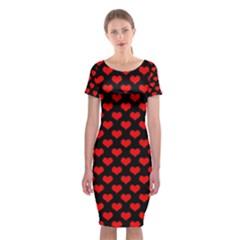 Love Pattern Hearts Background Classic Short Sleeve Midi Dress by Amaryn4rt