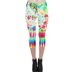 Pattern Decorated Schoolbus Tie Dye Capri Leggings