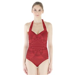 Psychedelic Art Red  Hi Tech Halter Swimsuit by Amaryn4rt